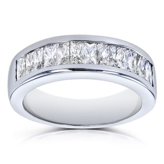 Annello by Kobelli 14k White Gold 1 2/5 Carats TDW Princess Baguette Diamond Wedding Band (GH, VS-SI)