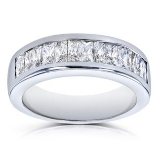 Annello by Kobelli 14k White Gold 1 2/5 Carats TDW Princess Baguette Diamond Wedding Band