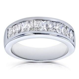 Annello by Kobelli 14k White Gold 1 2/5 Carats TDW Princess Baguette Diamond Wedding Band