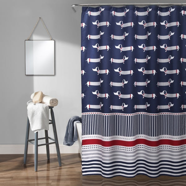 Lush Decor Sausage Dog Shower Curtain Navy