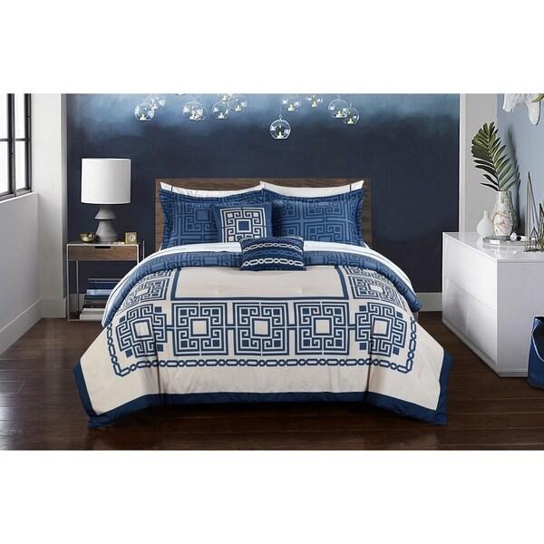 StyleNest Athena Blue Medallion Print Bed-in-a-Bag Set