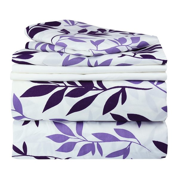 Full Purple Floral Full-size Sheet Set