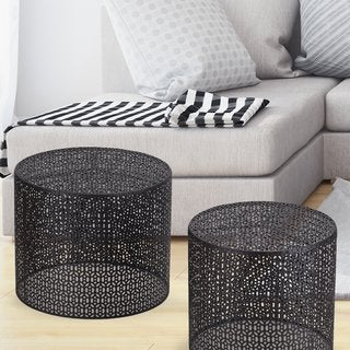Adeco Round Nesting Side/End/Coffee Table (Set of 2)