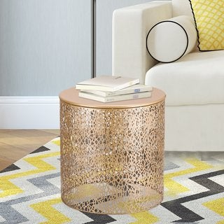Adeco Modern Stylish Golden Round Side/ End/ Coffee Table (Set of 2)
