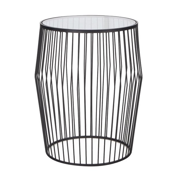 Drum Shaped Coffee Table.Shop Adeco 2017 Black Iron And Glass Drum Shaped Side Table Free