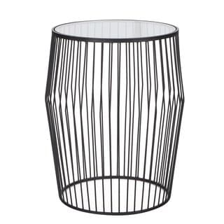 Adeco 2017 Black Iron and Glass Drum-shaped Side Table