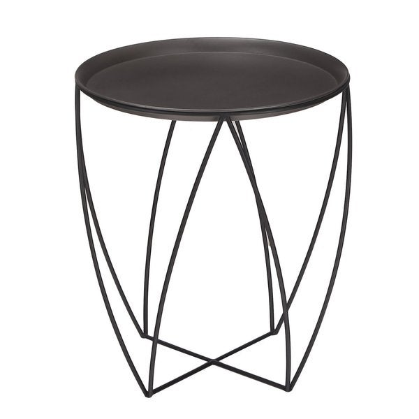 Captivating Adeco Minimalism Mordern Triangle Black Metal Curved Side Table