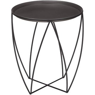 Adeco Minimalism Mordern Triangle Black Metal Curved Side Table
