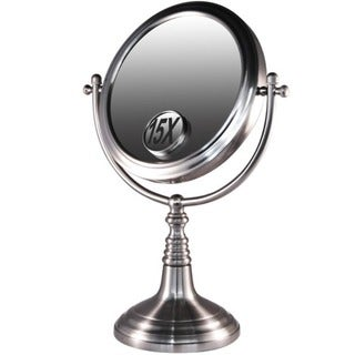 Rucci Nickel-plated Iron Mirror with 15x Magnification Insert Plus Free 3-in-1 Compact Mirror