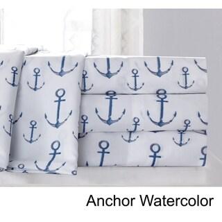 Anchors Nautical Microfiber Bed Sheet Set