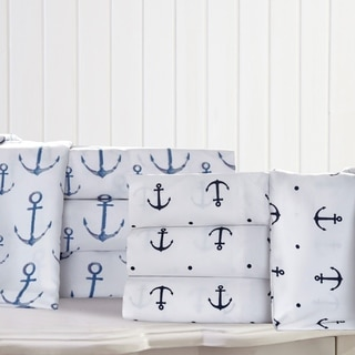 Anchors and Polka Dots Nautical Microfiber Bed Sheet Set