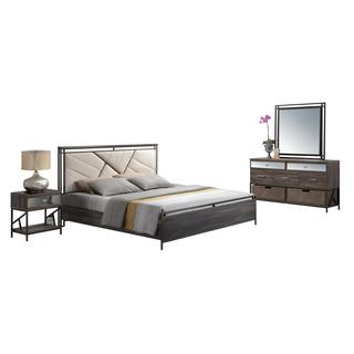 Acme Furniture Adrianna 5-Piece Bedroom Set, Cream Cotton Fabric and Walnut