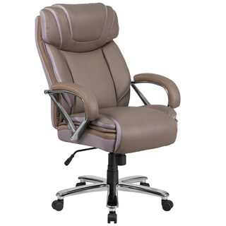 Santoro Big & Tall Taupe Leather Executive Adjustable Swivel Office Chair with Wide Cushioned Seat and Padded Arms