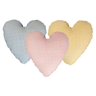Multicolor Gingham Cotton Shirred Side Band Heart Pillow
