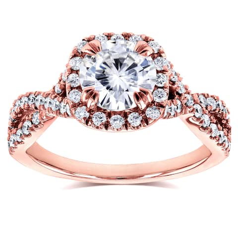 Annello by Kobelli 14k Rose Gold 1ct Moissanite (FG) and 1/2ct TDW Diamond (GH) Crossover Ring