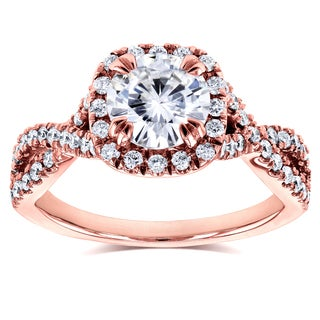 Annello by Kobelli 14k Rose Gold 1ct Moissanite and 1/2ct TDW Diamond Crossover Ring (GH, I1-I2)