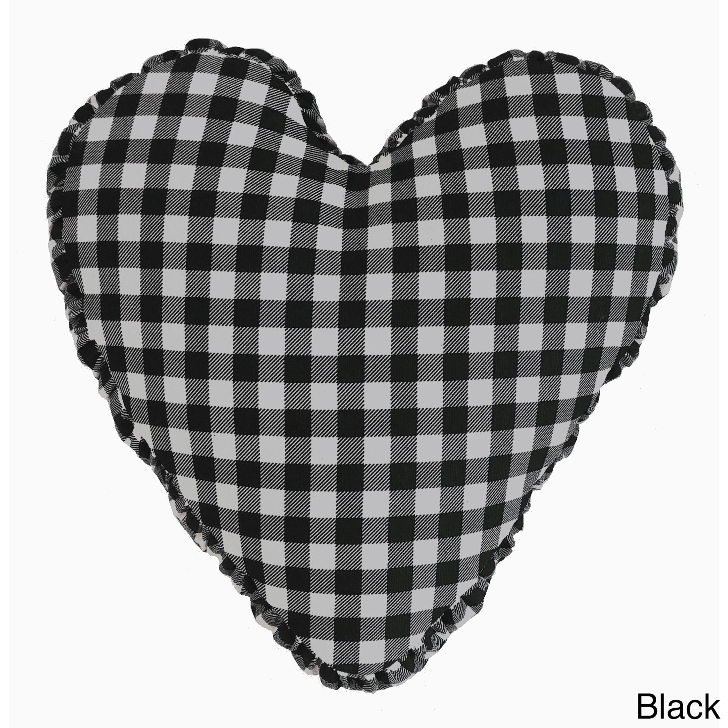 Cotton 14-inch Heart-shaped Shirred Side Band Throw Pillo...