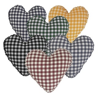 Cotton 14-inch Heart-shaped Shirred Side Band Throw Pillow