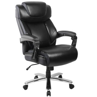 Grove Big & Tall Black Leather Executive Adjustable Swivel Office Chair with Height Adjustable Headrest and Padded Chrome Arms