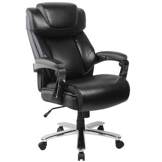 Grove Big & Tall Black Leather Executive Adjustable Swivel Office Chair with Height Adjustable Headrest and Padded Chrome Arms|https://ak1.ostkcdn.com/images/products/14141322/P20744499.jpg?impolicy=medium