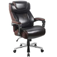 Grove Big & Tall Brown Leather Executive Adjustable Swivel Office Chair with Height Adjustable Headrest and Padded Chrome Arms