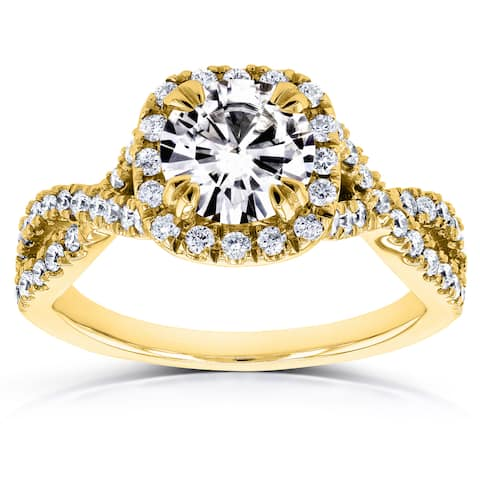 Annello by Kobelli 14k Yellow Gold 1ct Moissanite (FG) and 1/2ct TDW Diamond (GH) Crossover Ring