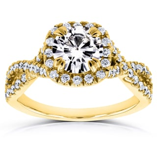 Annello by Kobelli 14k Yellow Gold 1ct Moissanite and 1/2ct TDW Diamond Crossover Ring (GH, I1-I2)