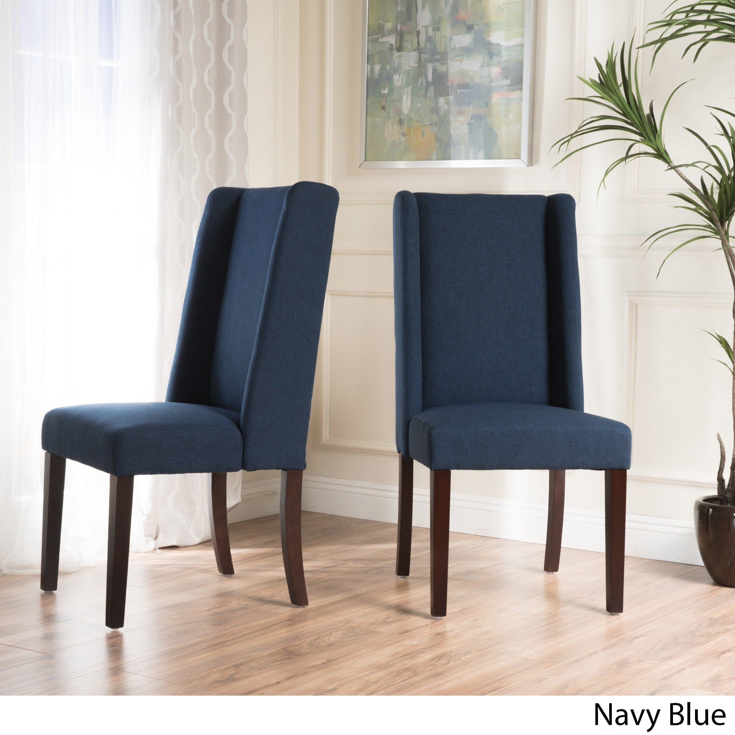 navy blue dining chairs table rorywingbackfabricdiningchairsetof rory wingback fabric dining chair set of 2 by christopher knight