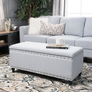 Christopher Knight Home Tatiana Studded Fabric Storage Ottoman Bench