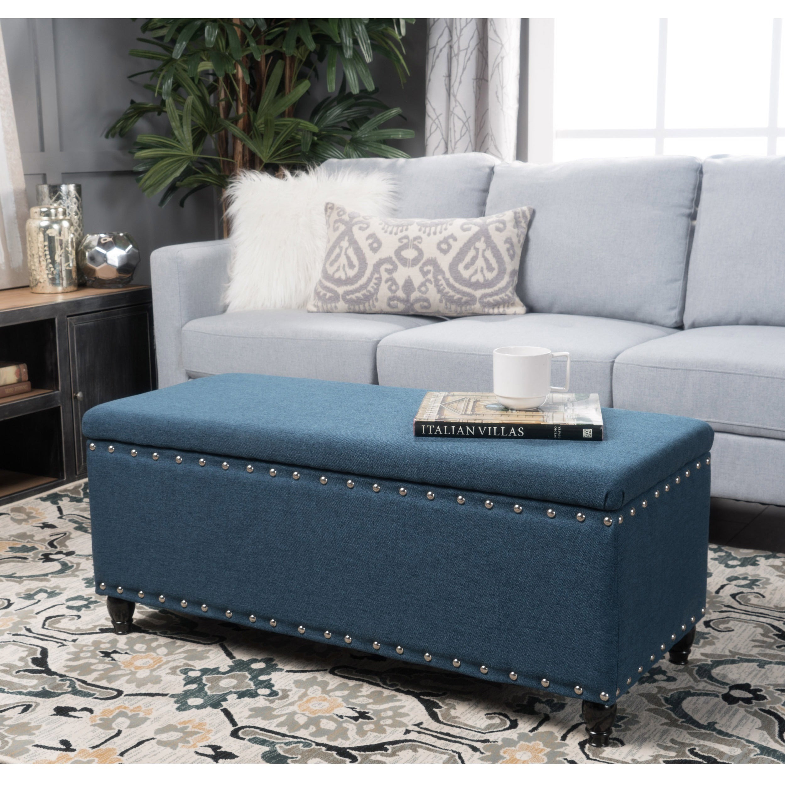 Blue Ottomans & Storage Ottomans For Less