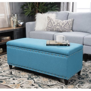 Tatiana Studded Fabric Storage Ottoman Bench by Christopher Knight Home (Teal)