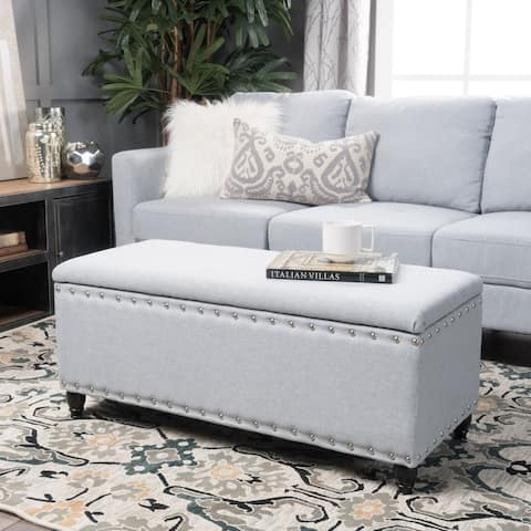 Tatiana Studded Fabric Storage Ottoman Bench by Christopher Knight Home