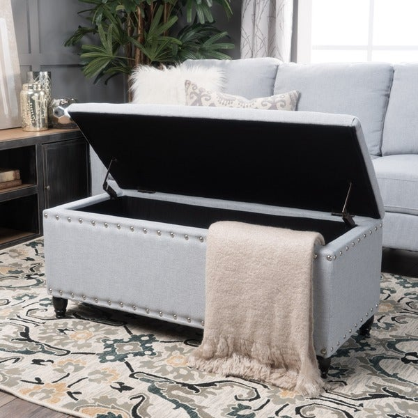 Tatiana Studded Fabric Storage Ottoman Bench By Christopher Knight Home Free Shipping Today 20744638
