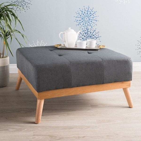 Luise Mid Century Tufted Fabric Square Ottoman Table By