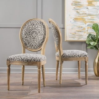 Phinnaeus Patterned Fabric Dining Chair (Set of 2) by Christopher Knight Home
