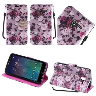 Insten Purple Roses Leather Case Cover Lanyard with Stand/ Diamond For Alcatel Stellar/ Tru