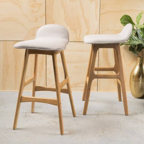 Anatoli Mid-Century Modern Upholstered Barstools (Set of 2) by Christopher Knight Home