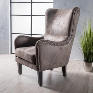 Link to Lorenzo Microfiber Wingback Club Chair by Christopher Knight Home Similar Items in Living Room Chairs