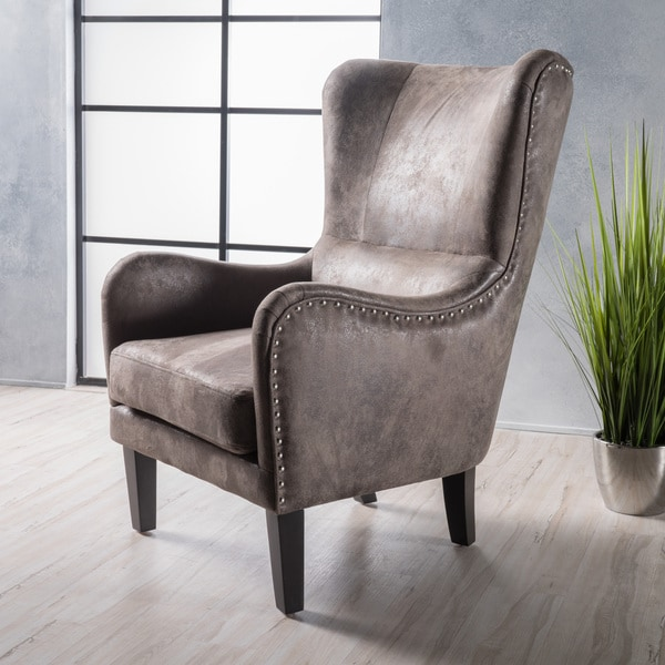 Lorenzo Microfiber Wingback Club Chair by Christopher Knight Home