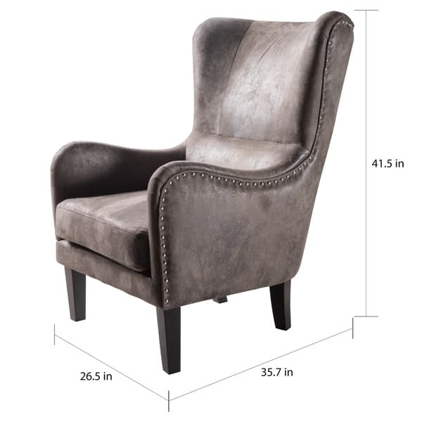 Lorenzo Microfiber Wingback Club Chair By Christopher Knight Home On Sale Overstock 14142279