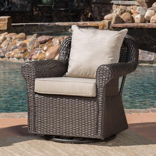 Amaya Outdoor Wicker Swivel Rocking Chair With Cushion By