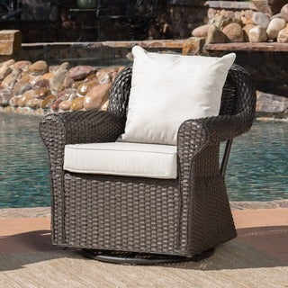 Amaya Outdoor Wicker Swivel Rocking Chair With Cushion By Christopher  Knight Home