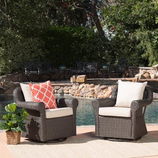 Amaya Outdoor Wicker Swivel Rocking Chair With Cushion