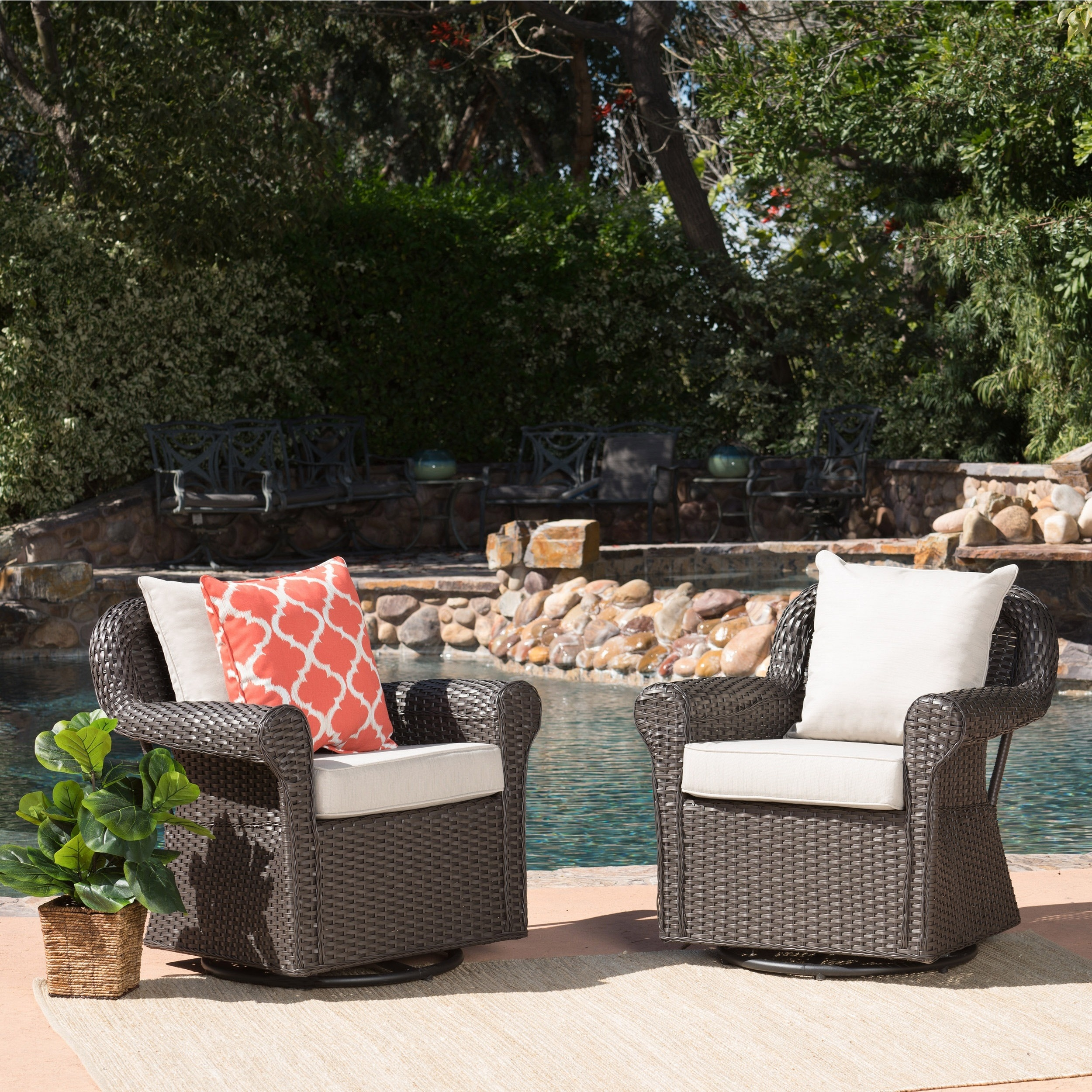 patio cushions Garden & Patio Furniture Set of 2 High chair upholstery cushions Garden furniture Chair Cushion Polyester
