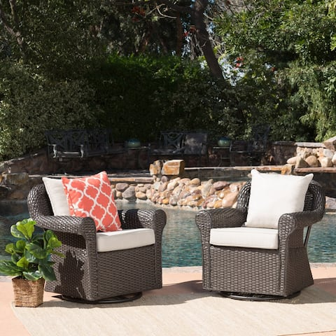 Amaya Cushioned Wicker Outdoor Rocking Chairs (Set of 2) by Christopher Knight Home
