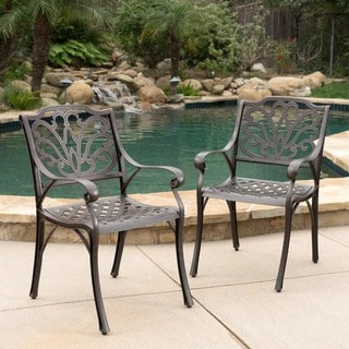 Link to Alfresco Outdoor Cast Aluminum Dining Chair Chair (Set of 2) by Christopher Knight Home - N/A Similar Items in Patio Dining Chairs