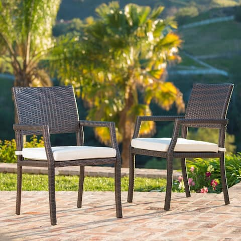 Rhode Island Outdoor Wicker Dining Chair Chair with Cushion (Set of 2) by Christopher Knight Home