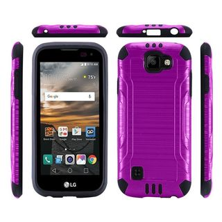 Insten Purple/ Black Hard PC/ Silicone Dual Layer Hybrid Rubberized Matte Case Cover For LG K3