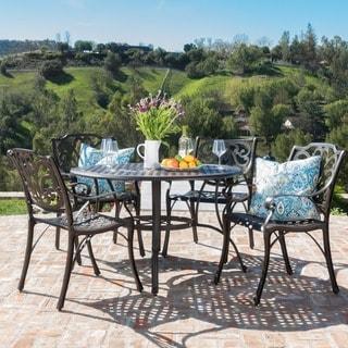 Alfresco Outdoor 5-piece Cast Aluminum Circular Dining Set by Christopher Knight Home