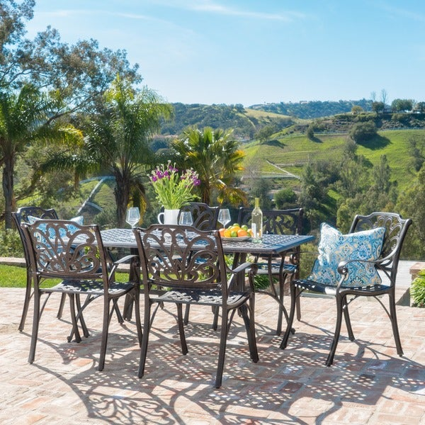 Alfresco Outdoor 7-piece Cast Aluminum Rectangle Dining Set by Christopher Knight Home. Opens flyout.